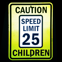 Caution Speed Limit Sign