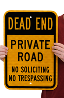 Private Road No Soliciting No Trespassing Sign