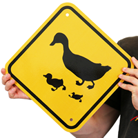 Duck And Duckling Crossing Road Signs
