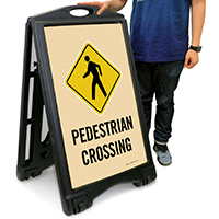 Pedestrian Crossing A-Frame Portable Sidewalk Sign