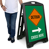 Detour Cross Here with Left/Right Arrow Sign