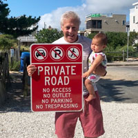 Private road sign no parking no outlet no trespassing