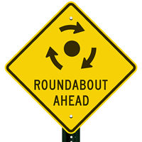 Roadabout Ahead with Clockwise Arrows Sign