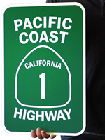 Pacific Coast California 1 Highway Signs