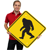Novelty Sasquatch Big Foot Crossing Signs