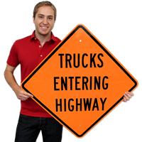 Trucks Entering Highway Signs