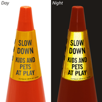Slow Down Kids And Pets At Play Cone Message Collar Sign