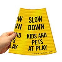 Kids And Pets At Play Road Sign