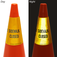 Sidewalk Closed Cone Message Collar sign