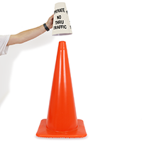 No Thru Traffic Cone Message Collar Sign