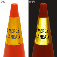 Merge Ahead Cone Message Collar Sign