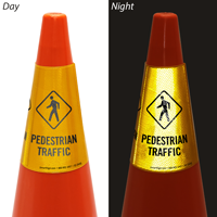 Pedestrian Traffic Cone Message Collar Sign