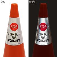 No Pedestrian Traffic Cone Message Collar Sign