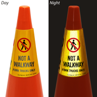 Not A Walkway For Trucks Only Cone Message Collar Sign