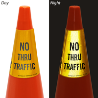 No Thru Traffic Cone Message Collar Sign
