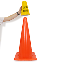 Cone Message Collar Survey Crew Road Traffic Sign
