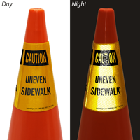 Uneven Sidewalk Cone Collar Sign