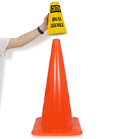 Cone Message Collar Uneven Sidewalk Road Traffic Sign