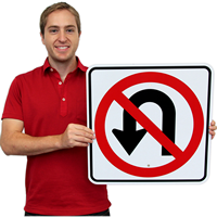 No U Turn Road Traffic Signs Symbol