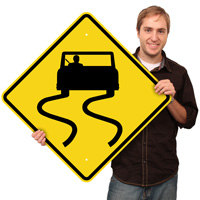 Slippery When Wet (Symbol) - Road Warning Signs