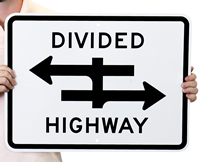Divided Highway One Way Signs Symbol