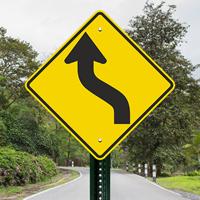 Left Reverse Curve Sharp Turn  Lane Shift Left Sign