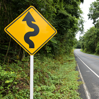 Left Winding Road Signs - Sharp Turn Signs