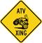 ATV Xing Diamond Crossing Sign