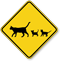 Cat with Kittens Crossing Sign