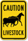 Livestock Caution Sign, Horse and Cow Symbol