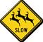 Slow Multiple Deer Crossing Symbol Sign