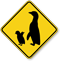 Penguin with Chick Crossing Sign