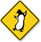 Penguin Dancing Symbol Crossing Sign
