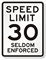 Seldom Enforced NYC 30 MPH Speed Limit Sign