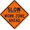 Slow Work Zone Ahead Road Work Sign