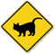 Standing Cat Crossing Symbol Sign