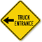 Truck Entrance On Left Diamond-shaped Traffic Sign